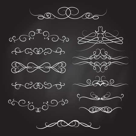 Vintage calligraphic vignettes and dividers, set of decorative design elements in retro style, vector illustration Illustration