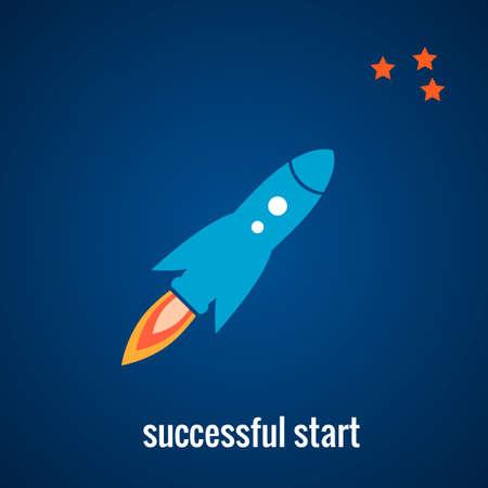 science symbols metaphors: Rocket launch background