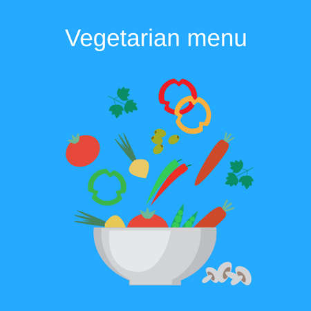 Salad bowl and fresh vegetables