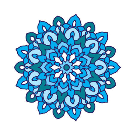 Round flower mandala in blue colors.