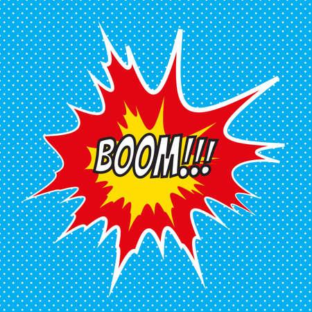 Pop art comics Boom speech bubble. Illustration