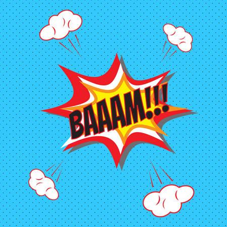 Comic pop art speech bubble, Bam vector illustration