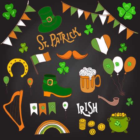 St. Patrick s Day holiday design elements set. Hand drawn vector illustration Illustration