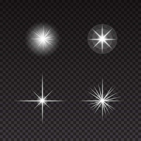 Glowing lights and stars on transparent background. Abstract vector set