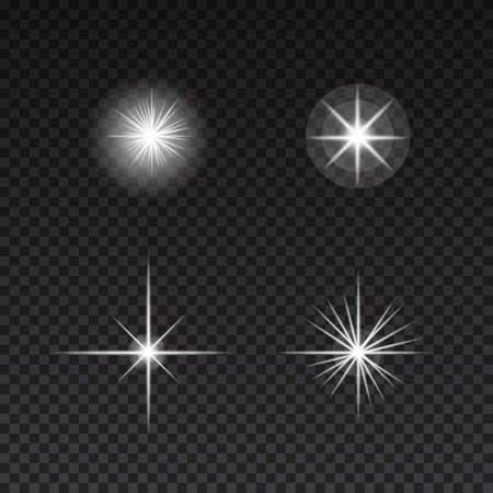Luces brillantes y estrellas sobre fondo transparente. Conjunto de vectores abstractos Foto de archivo - 74429792