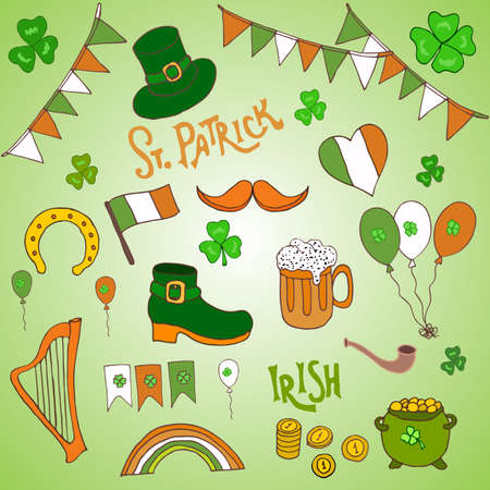 celtic background: St. Patrick s Day holiday design elements set. Hand drawn vector illustration Illustration