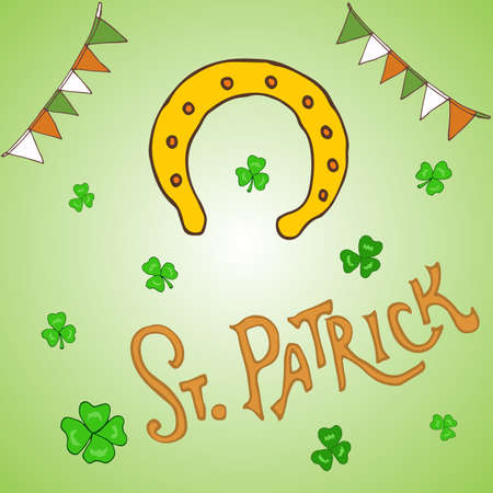 ireland flag: St. Patrick s Day holiday greeting card. Hand drawn vector illustration