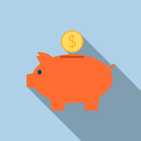Piggy bank icon in flat style