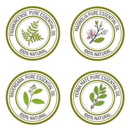 Set of essential oil labels Stock Photo