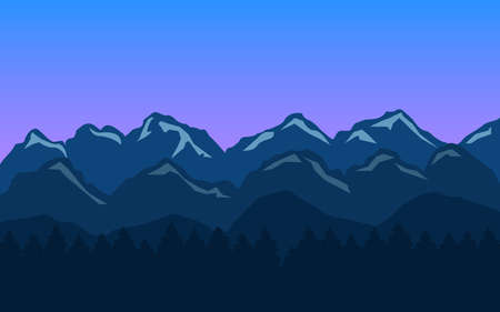 Mountain landscape background with blue hills and forest