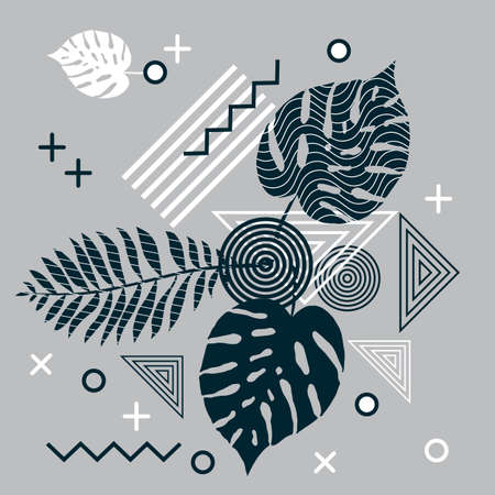 Abstract background with tropical leaves and geometric elements. Vector illustration Vectores