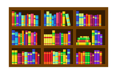 Shelves with colorful books. Vectores