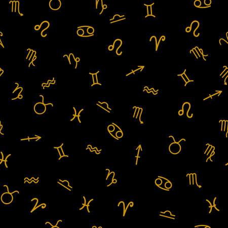 Zodiac signs seamless pattern on black background. Vector illustration