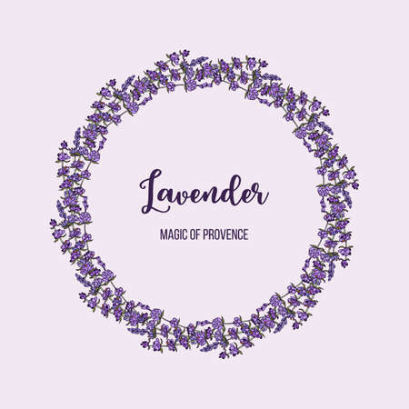 Beautiful lavender flowers wreath. Vector illustration.