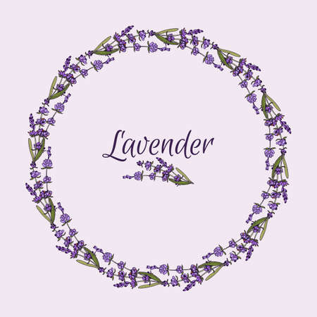 Beautiful lavender flowers wreath.