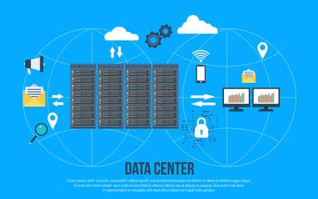 Data center creative concept vector illustration. Vectores