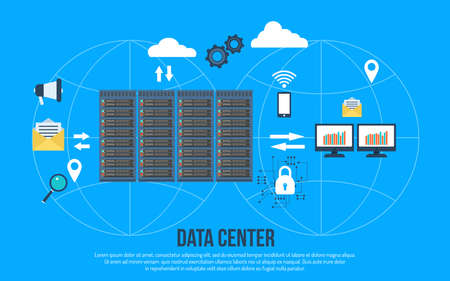 Data center creative concept vector illustration. Иллюстрация