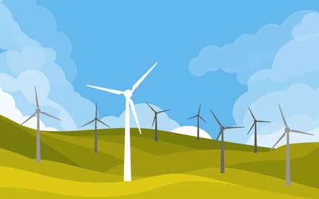 Windmühlen in grünen Feldern