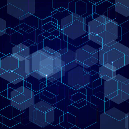 Abstract blue hexagon grid background Vector illustration.