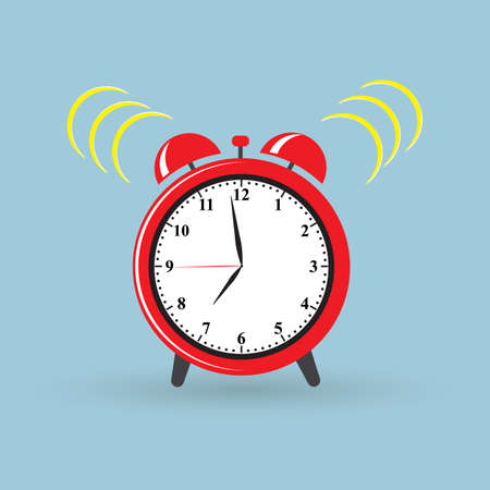 Red alarm clock wake-up time. Vector illustration flat style