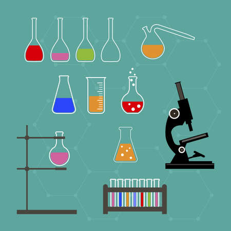 Laboratory research equipment for medicine, science, technology, chemistry Vector illustration