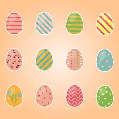 Color Easter egg set for spring holiday. Vector Illustration