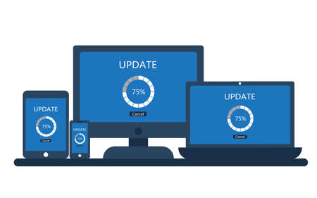Desktop computer, laptop, tablet and smartphone with update screen. Vector illustration.