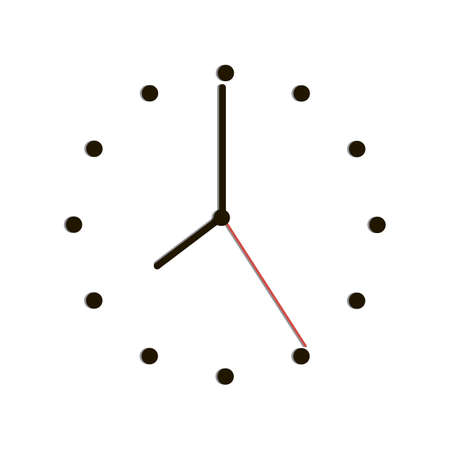 Time clock with shadow eight o clock. Vector illustration
