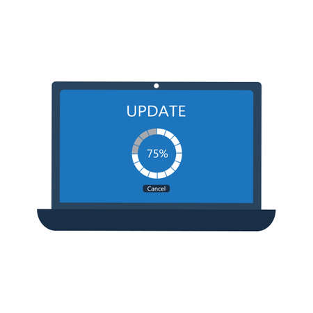 Laptop with update screen, software updating concept. Vector illustration