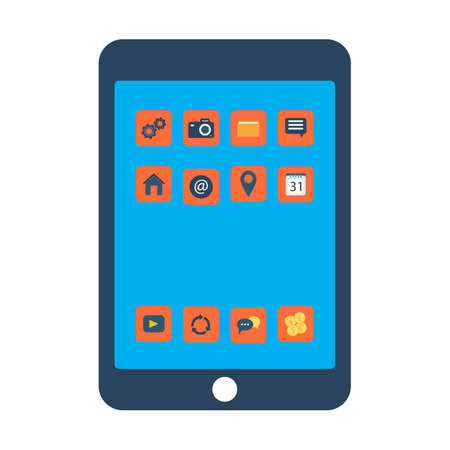 Tablet screen with colorful icons. Vector illustration