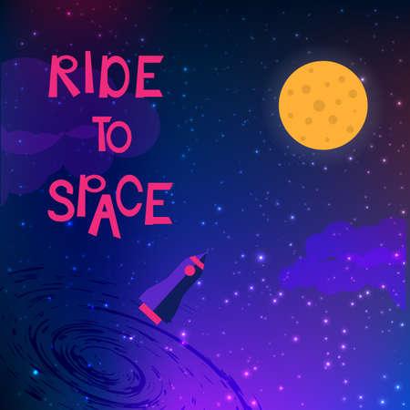 Ride to space slogan avec vaisseau spatial et espace Vecteurs