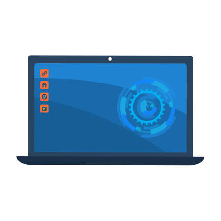 Desktop computer screen with colorful icons. Vector illustration
