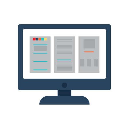 Desktop computer screen with documents. Vector illustration