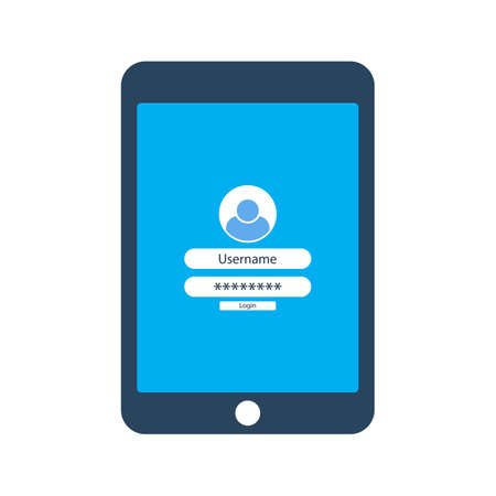 Tablet with login form on the screen. Vector illustration