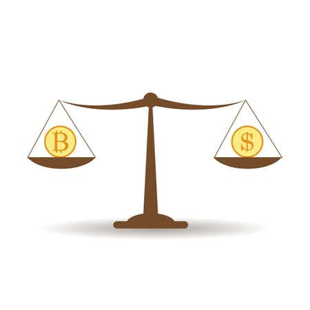 Dollar and bitcoin balance, cryptocurrency technology concept. Vector illustration. Ilustração