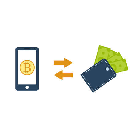 Bitcoin to dollar exchange, cryptocurrency technology concept. Vector illustration. Ilustração