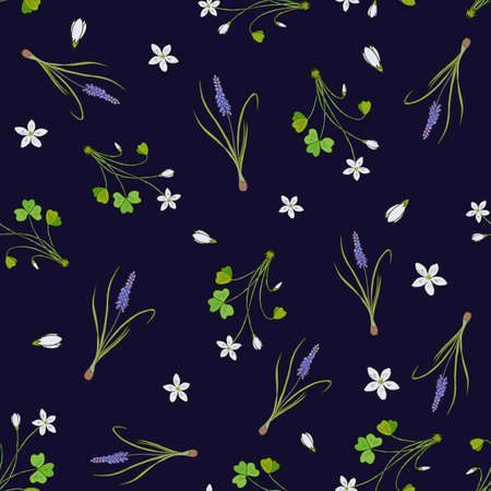 Spring seamless pattern with miscari and wood sorrel. Hand drawn vector illustration 向量圖像
