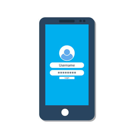 Smartphone with login form on the screen. Vector illustration