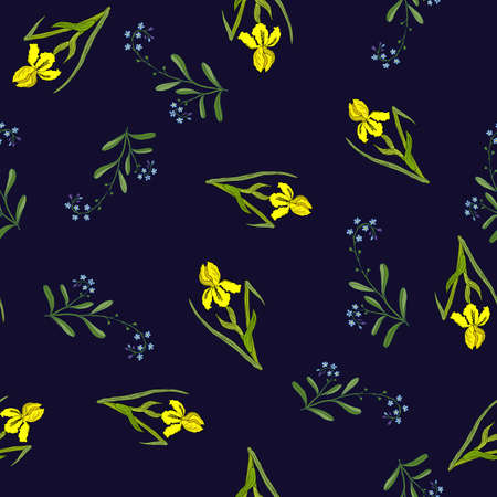 Spring seamless pattern with iris and forget-me-not. Hand drawn vector illustration