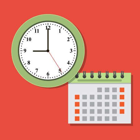 Timing concept calendar and clock icon. Vector flat Illustration Ilustração