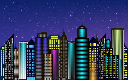 Vector night city skyscrapers with neon glow. Vector illustration Ilustração