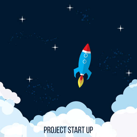 Project start up concept rocket launch, Vector illustration. Ilustração