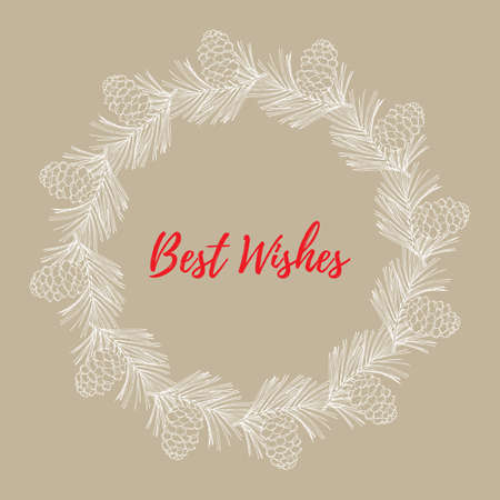 Merry Christmas and Happy New Year greeting card, banner with pine wreath. Vector illustration