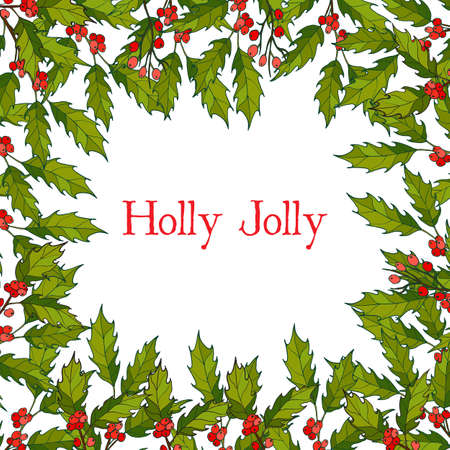 Christmas holly tree frame with green leaves and red berries. Vector illustration Ilustração