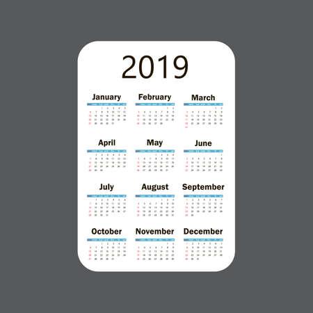 Calendar 2019. Vector template. Week starts on Sunday Ilustração