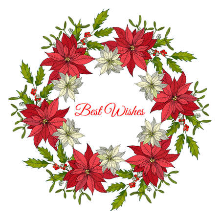 Christmas and New Year wreath with holly and poinsettia. Vector illustration