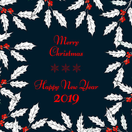 Merry Christmas and Happy New Year greeting card, banner, vector illustration Ilustração