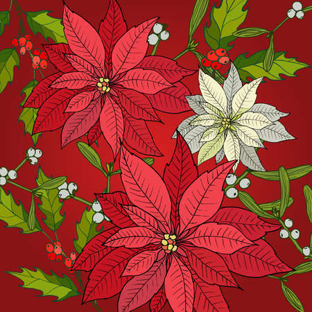 Merry Christmas and Happy New Year background with poinsettia, vector illustration