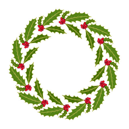 Christmas holly tree wreath with leaves and red berries. Vector illustration