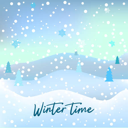 Christmas greeting card with winter landscape. Vector illustration
